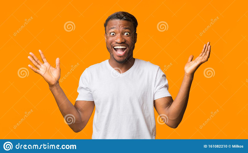Photo About Wow Surprised African American Man Shouting Looking At Camera Standing Over Orange Background Studio African American Men African American Photo