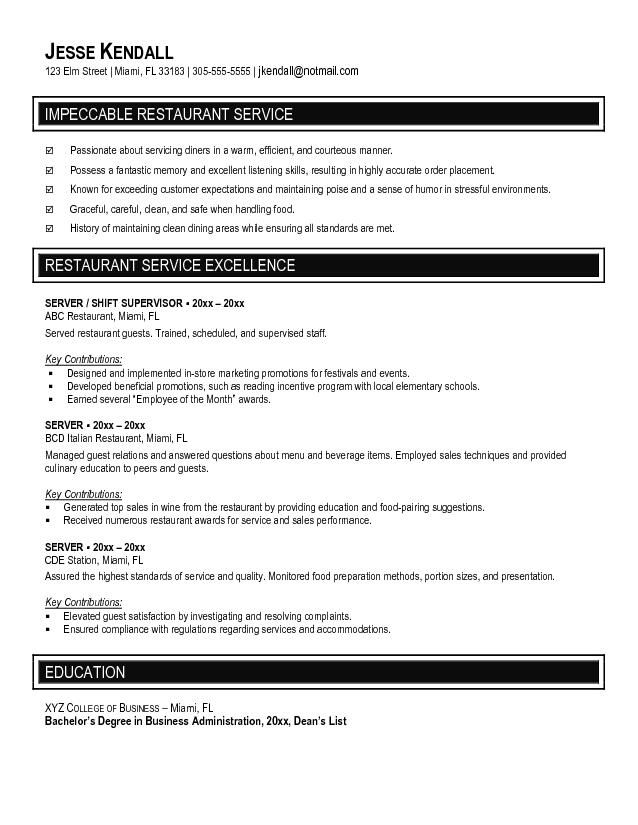 resume template for food server bar position
