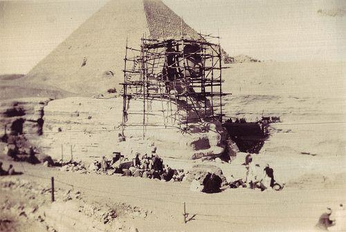 #andamios en la Esfinge, Egipto 1925