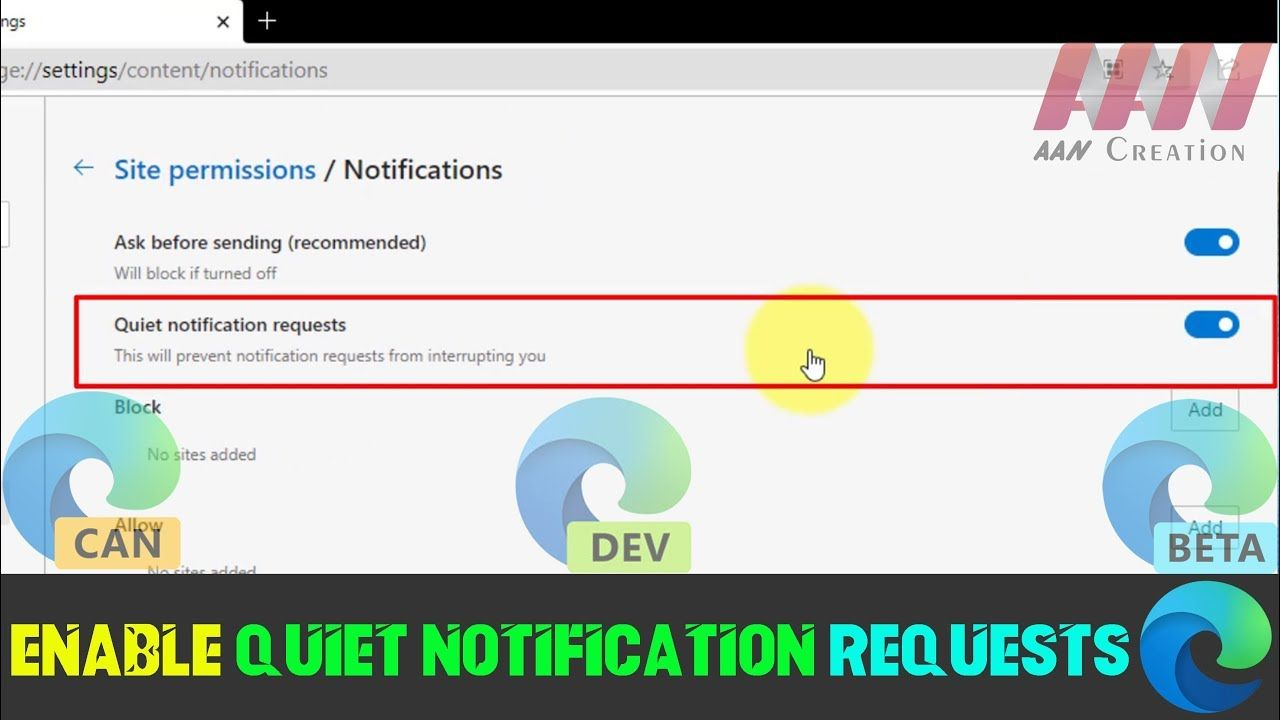 How To Enable Quiet Notification Requests In Microsoft Edge Chromium In 2020 Enabling Microsoft Quiet