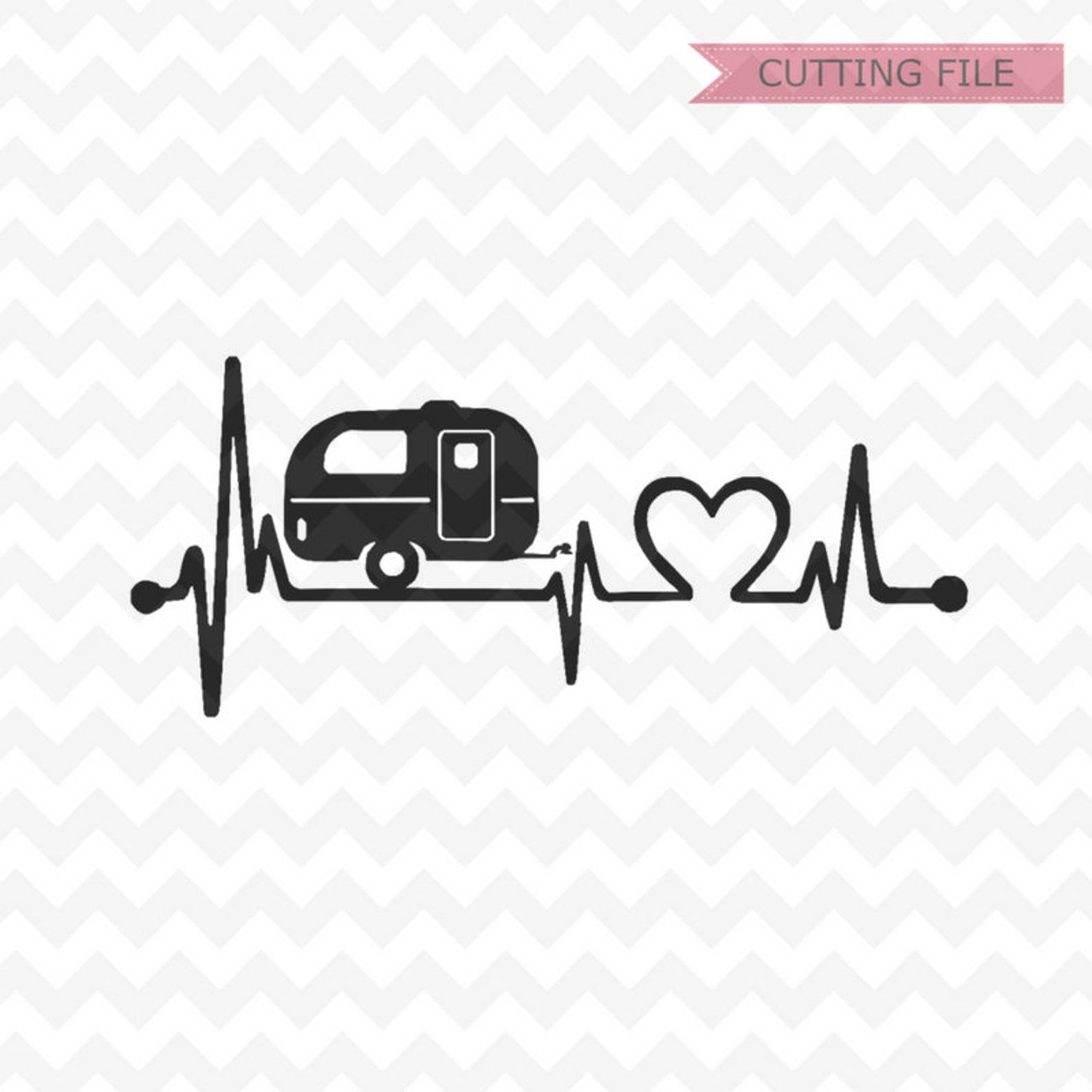 Happy camper SVG happy camper heartbeat Svg and PNG