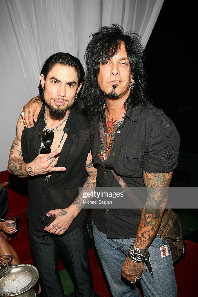 Musicians Dave Navarro and Nikki Sixx at the Hot August
