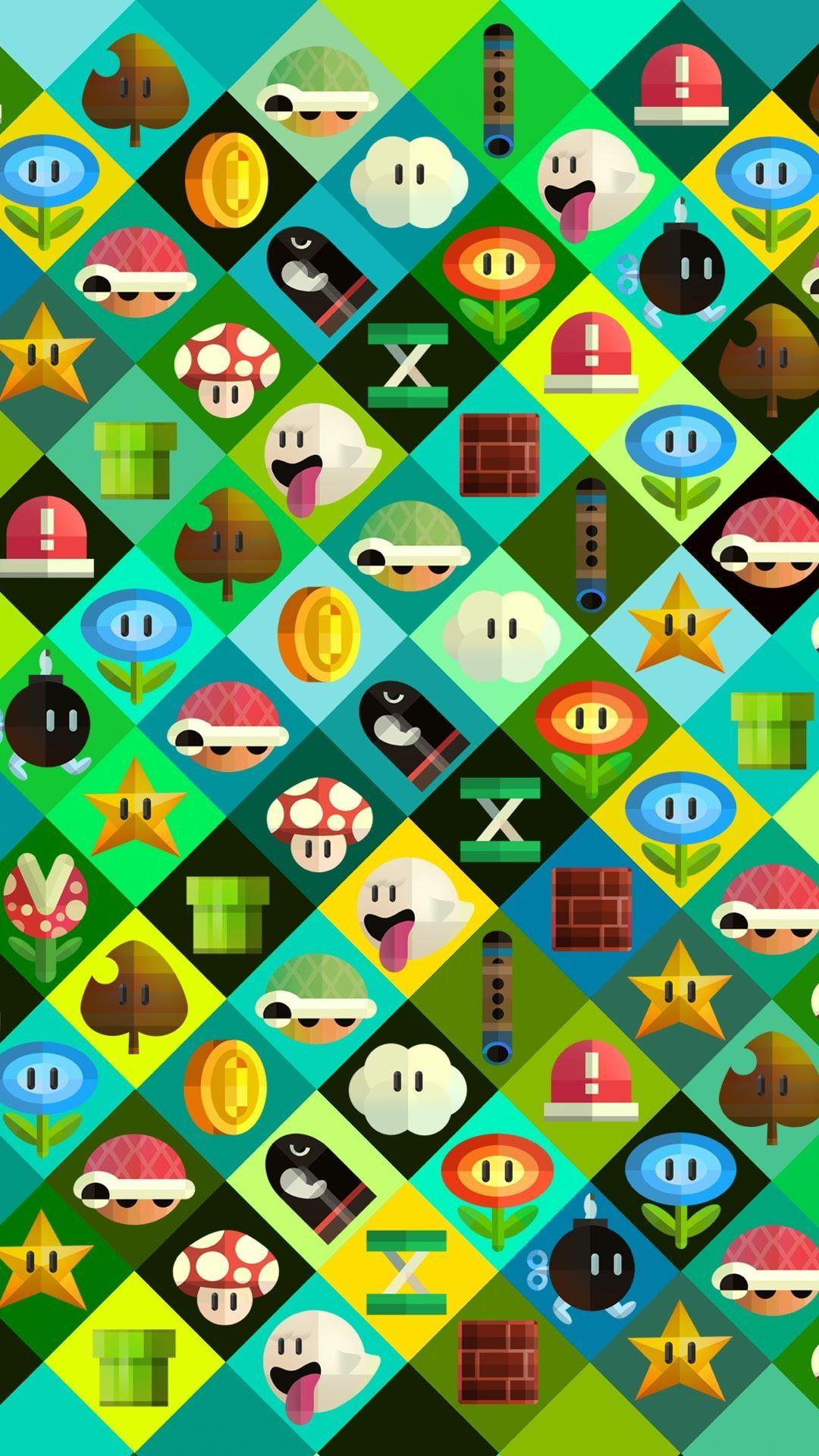 [iPhone wallpaper] Super Mario characters Wallpaper