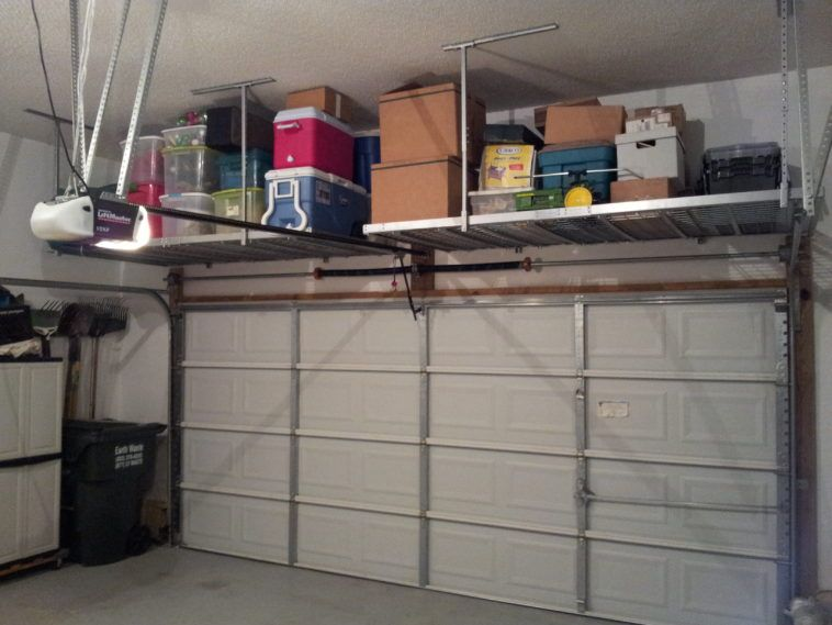 Diy Metal Overhead Garage Storage Rack Ample And Sturdy Household
