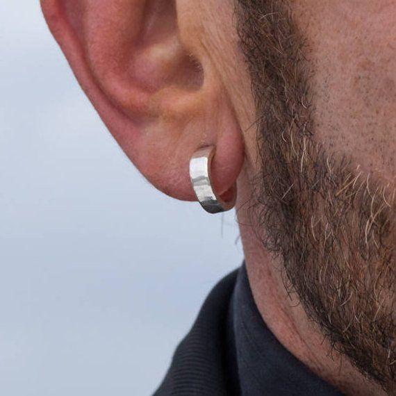 dec261656 14mm, small sterling silver hoop earrings for man | Handmade men's tiny  hoop earrings for daily wea