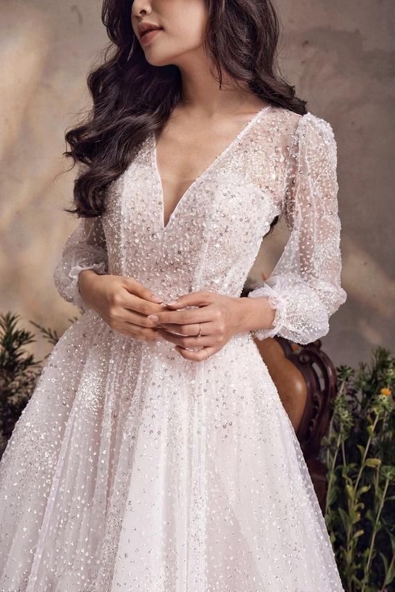 Sparkly A-line Wedding Dress, Long Sleeve Bridal Gown, Open Back, V-neck for Gla…