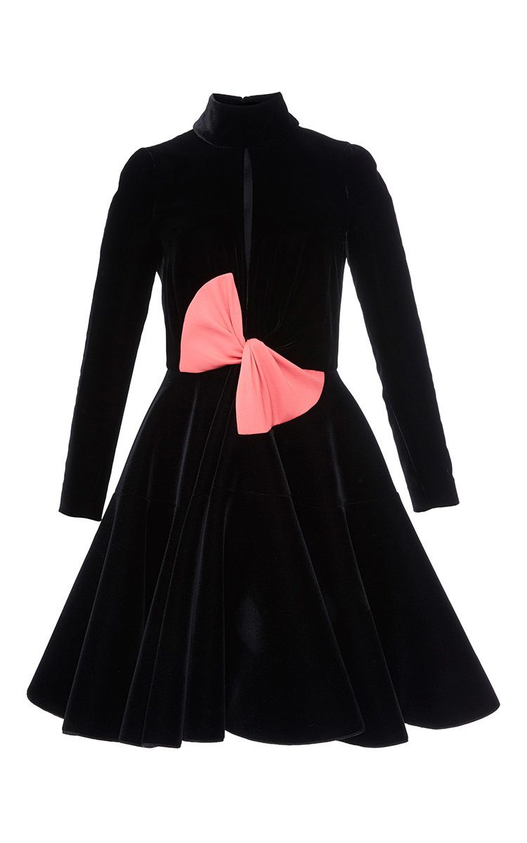 Long sleeve velvet dress bow by paule ka for preorder on moda