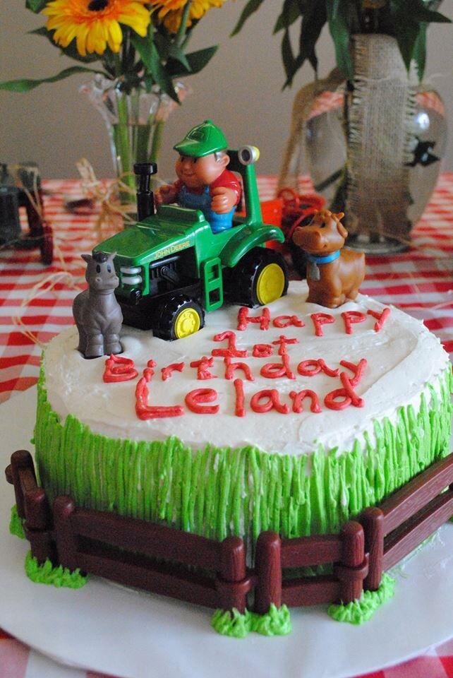 Farm Themed Birthday Cake For Lelands 1st Birthday Leland
