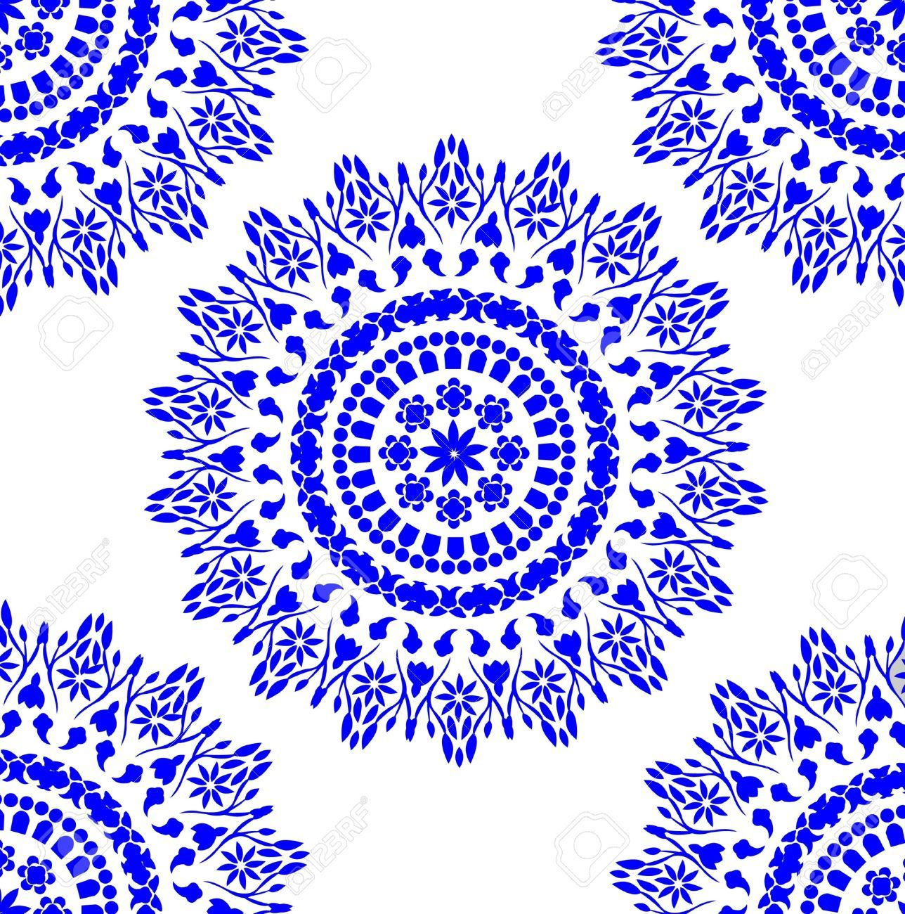 Chinese Blue And White Porcelain Pattern Royalty Free Cliparts