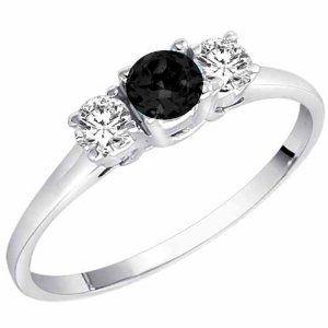 14K White Gold Round 3 Stone Black Diamond & White Diamond Ring (1/2 ctw) - Size 6 (Jewelry)  http://howtogetfaster.co.uk/jenks.php?p=B001MUUGBU  B001MUUGBU