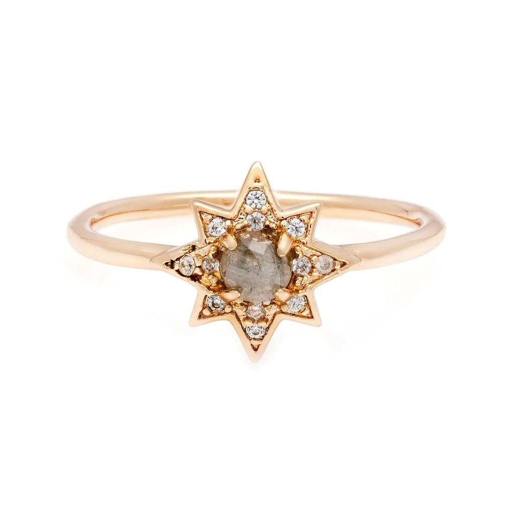Faceted Moonstone Micro Pave Starburst