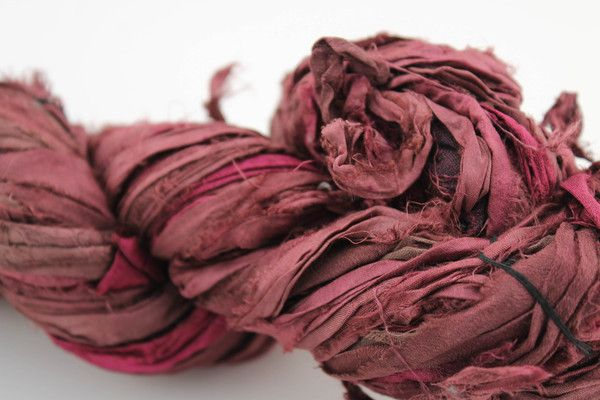 2 Toned Red Velvet Reclaimed Sari Silk Ribbon from DGY