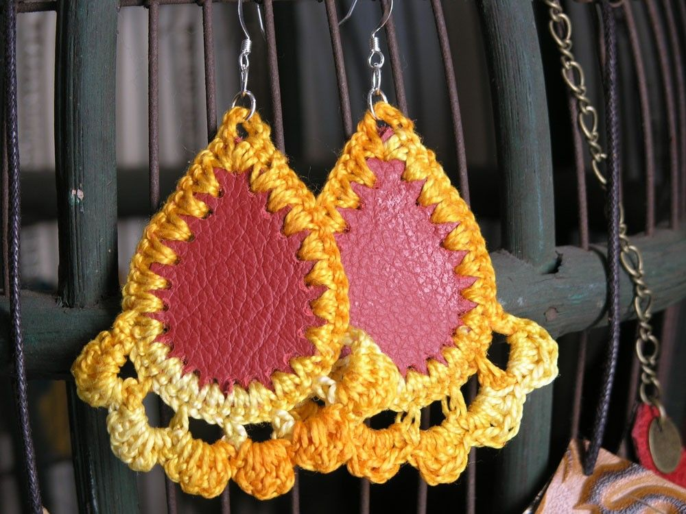 Image detail for -Leather and Crochet Earrings by lindalu on Etsy