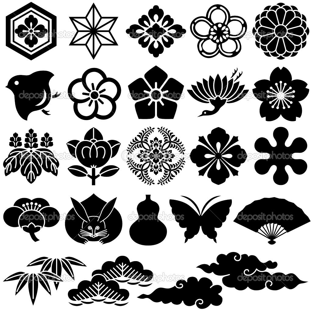 Japanese design patterns japanese traditional icons stock vector lalan33 3975151 - Asian design ...