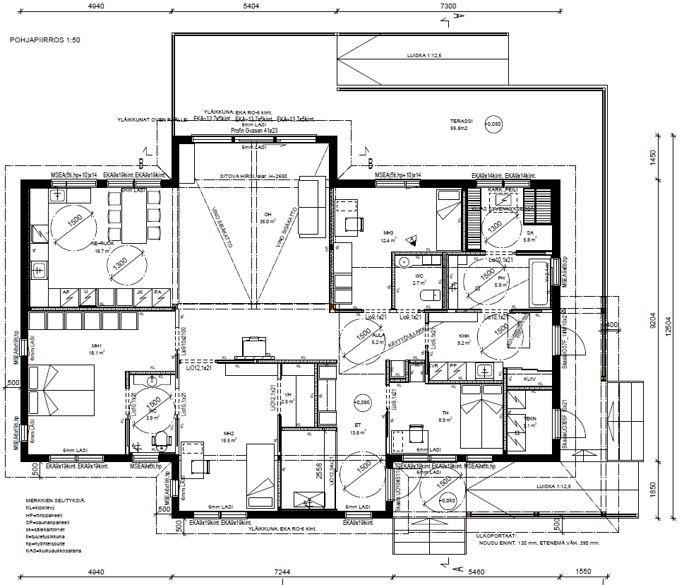 Wheelchair Accessible Floor Plan House Plan Pohjapiirros Esteeton Talo Floor Plans Accessible House House Plans