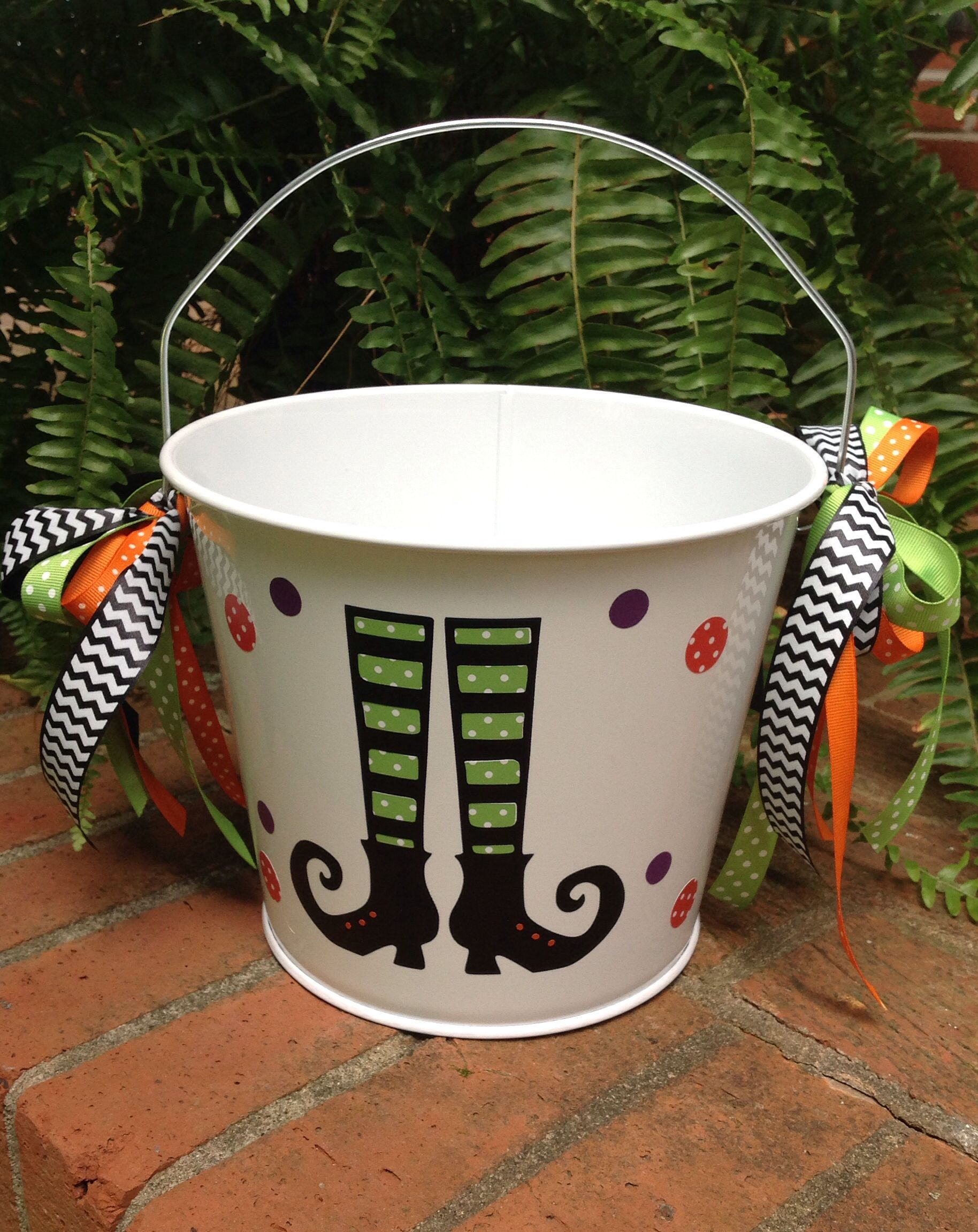 Witches Legs Halloween Bucket To Be Personalized Metal