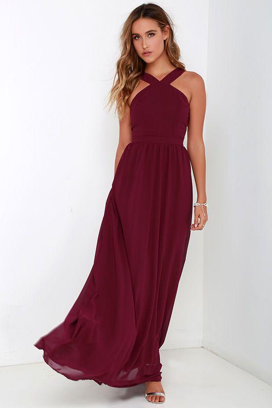 57771797f6e Air of Romance Burgundy Maxi Dress