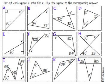 Interior & Exterior Angles of Triangles Matching Activity ...
