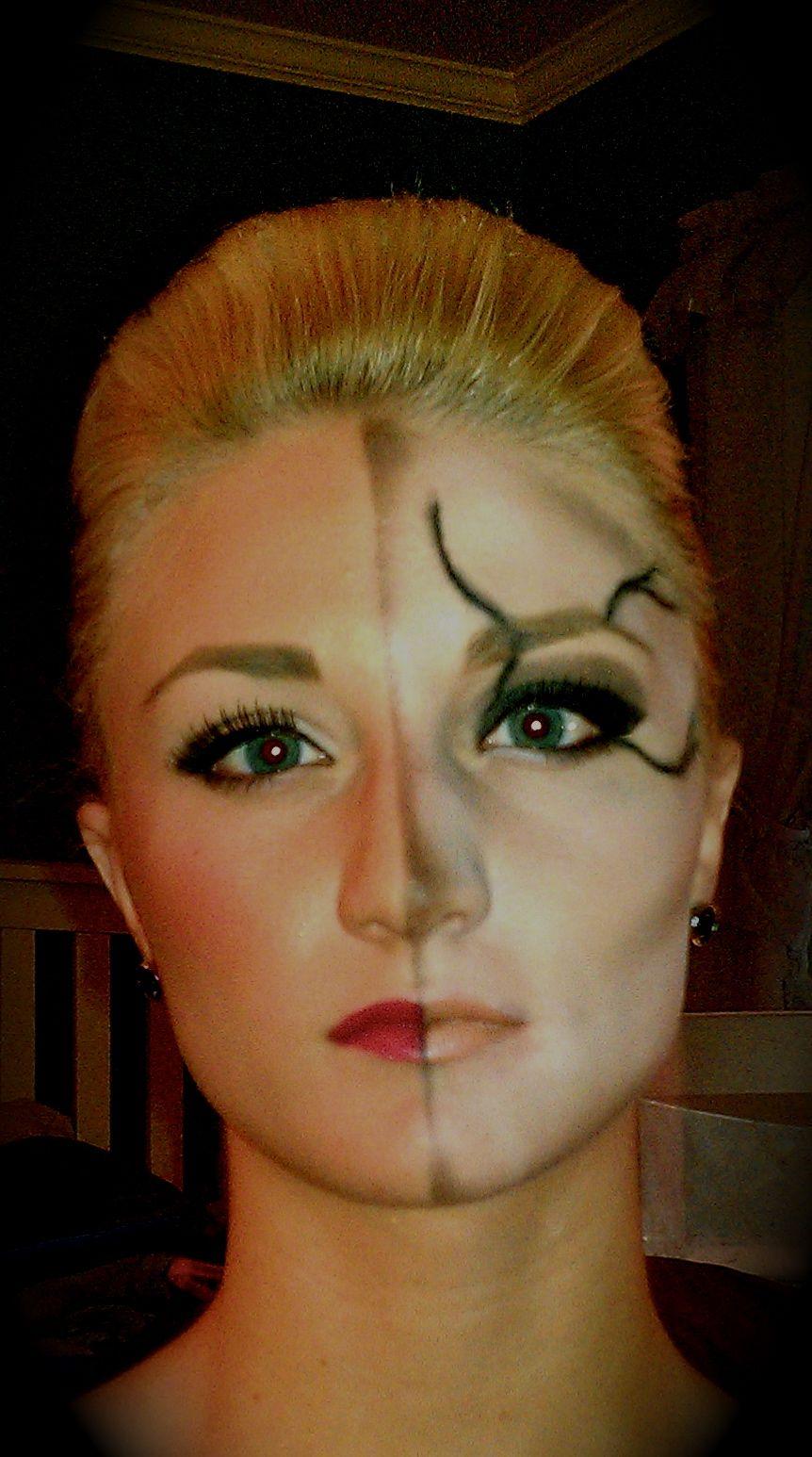 half girl/half zombie makeup #halloween   beauty   pinterest