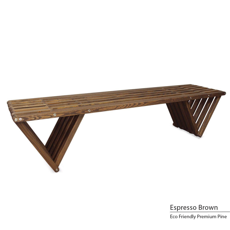 Glodea x70 eco friendly wooden bench espresso brown patio furniture pine