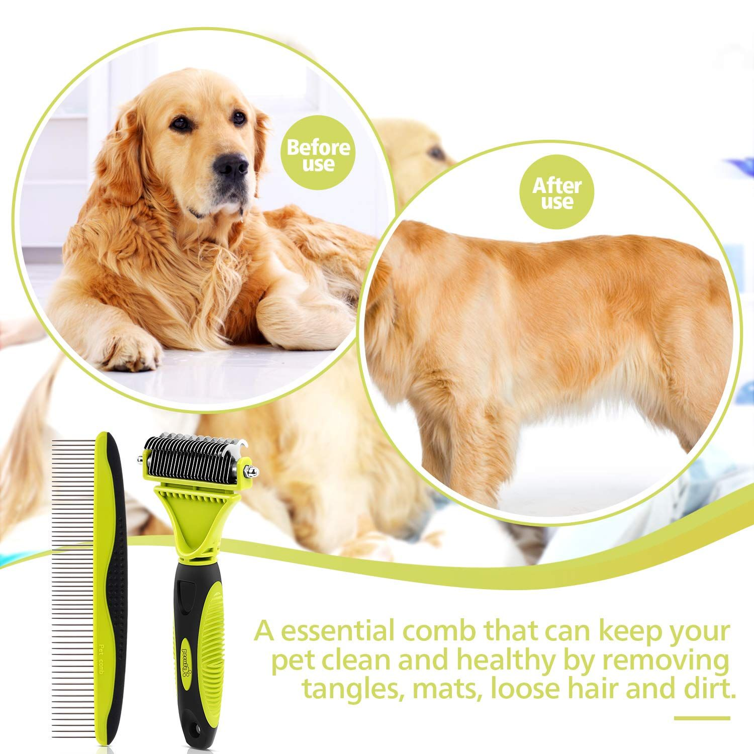 Pecute Dematting Comb Grooming Tool Kit For Dog Cat Double Sided Blade Rake Comb With Grooming Brush In 2020 Dog Safe Pets Pet Hair