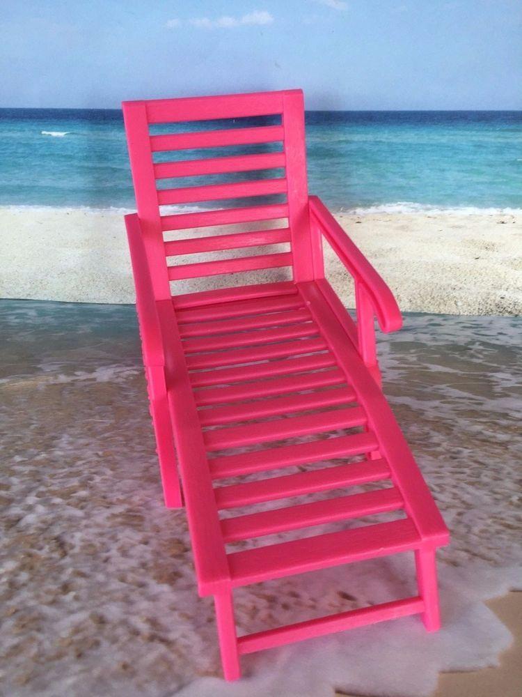 Vintage barbie bratz doll house furniture pink beach chaise lounge ...