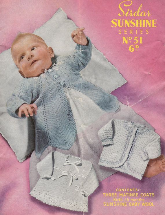 d38f83b3fcdd baby matinee coats vintage knitting pattern PDF by Ellisadine ...