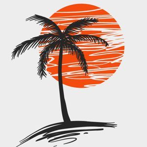palm tree silhouette against red sun vector clipart free rh pinterest nz clipart palm trees free