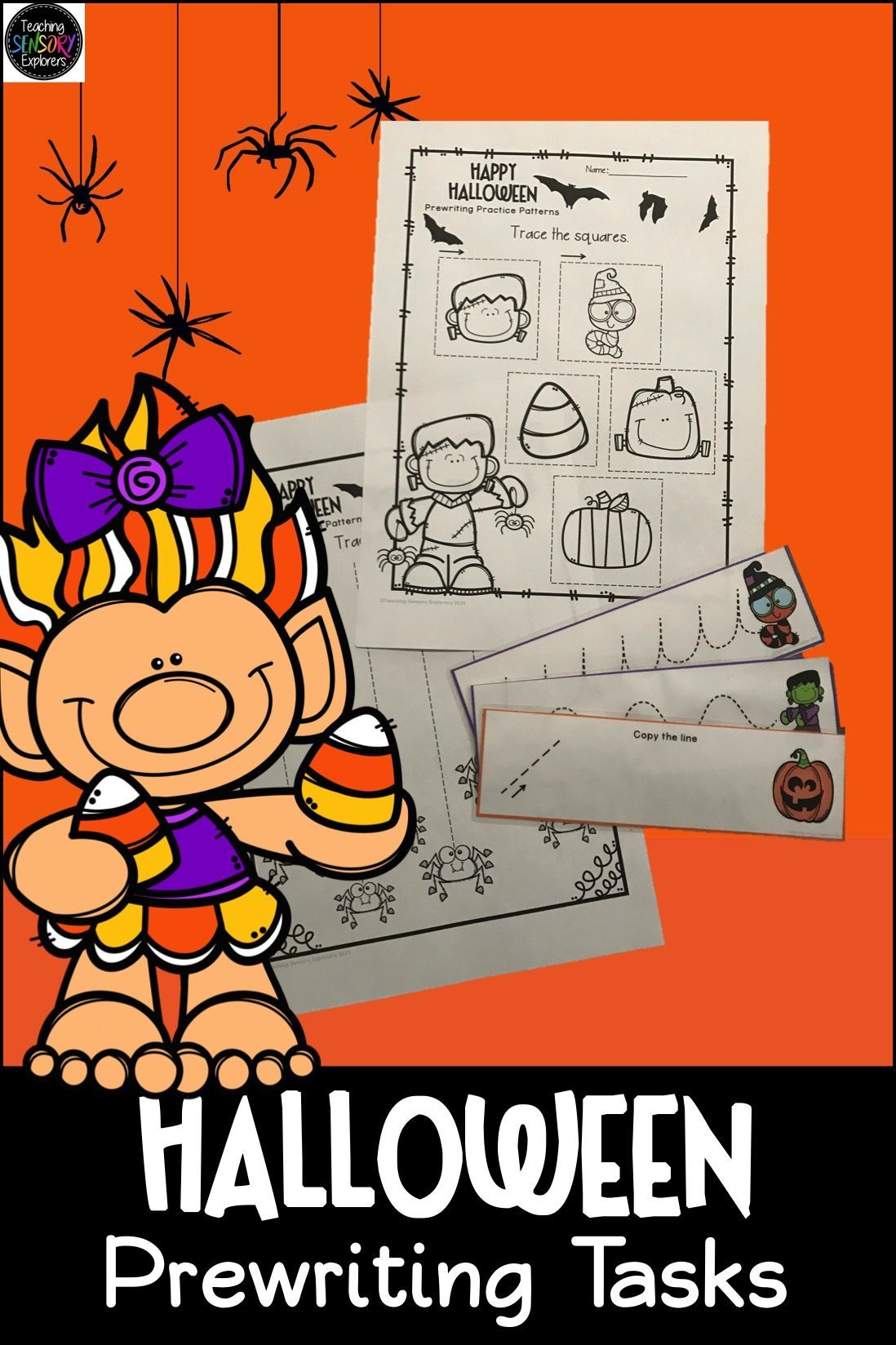 Prewriting Worksheets Practice Strips Halloween Theme