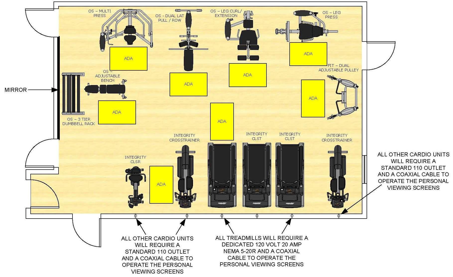 Ada hotel room floorplan google search ada pinterest for Gym blueprints