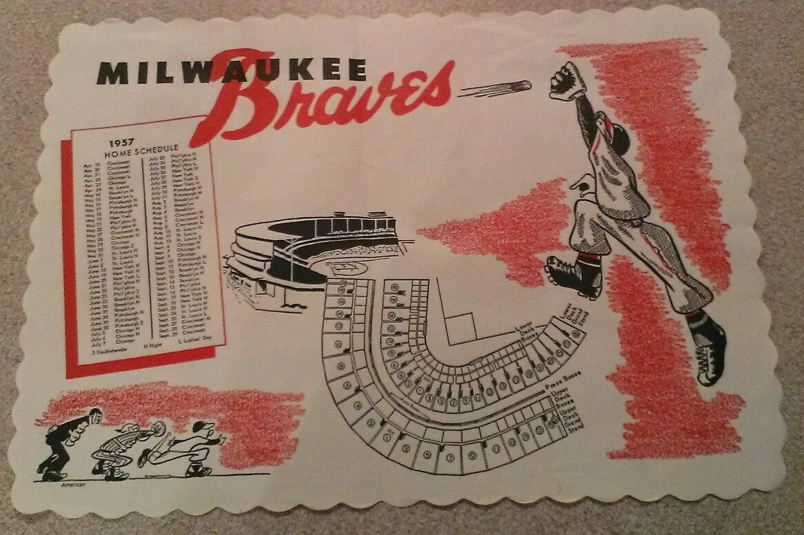 1957 Milwaukee Braves Paper Placemat Original Baseball Sports Memorabilia Rare Sports Memorabilia Braves Milwaukee