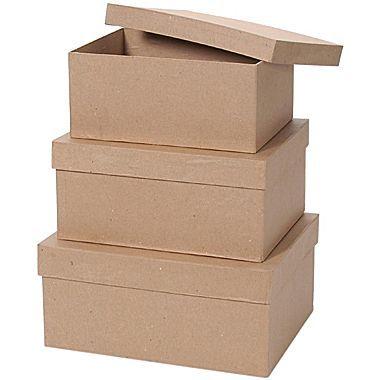 "Darice® Value Pack Rectangle Box Paper Mache Set, 8""/9""/10 ..."