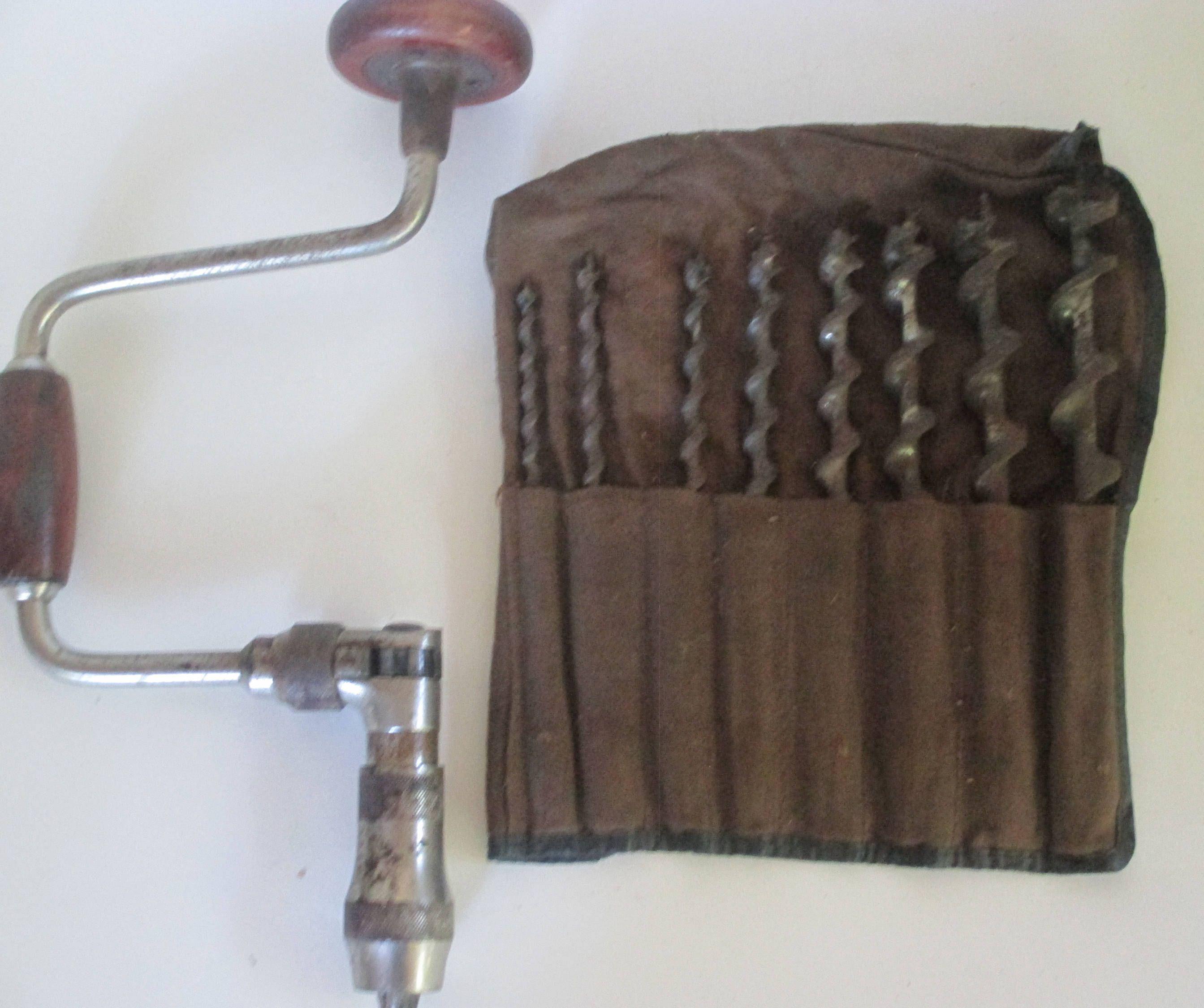 Hand Brace And Bit Set 8 Auger Bits