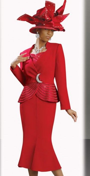 9420b4dae79 Donna Vinci 11136 Womens Red Church Suit with Rhinestone Trim ...