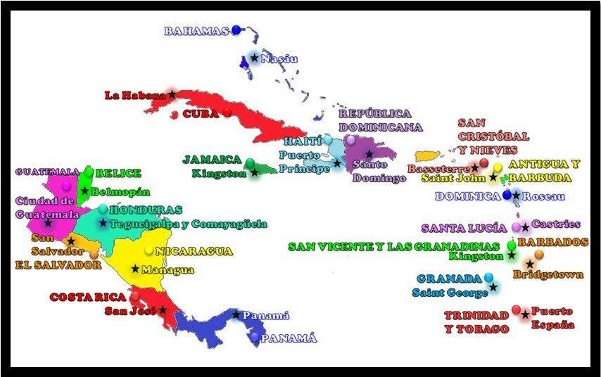 Mapa de america central y el caribe, paises y capitales