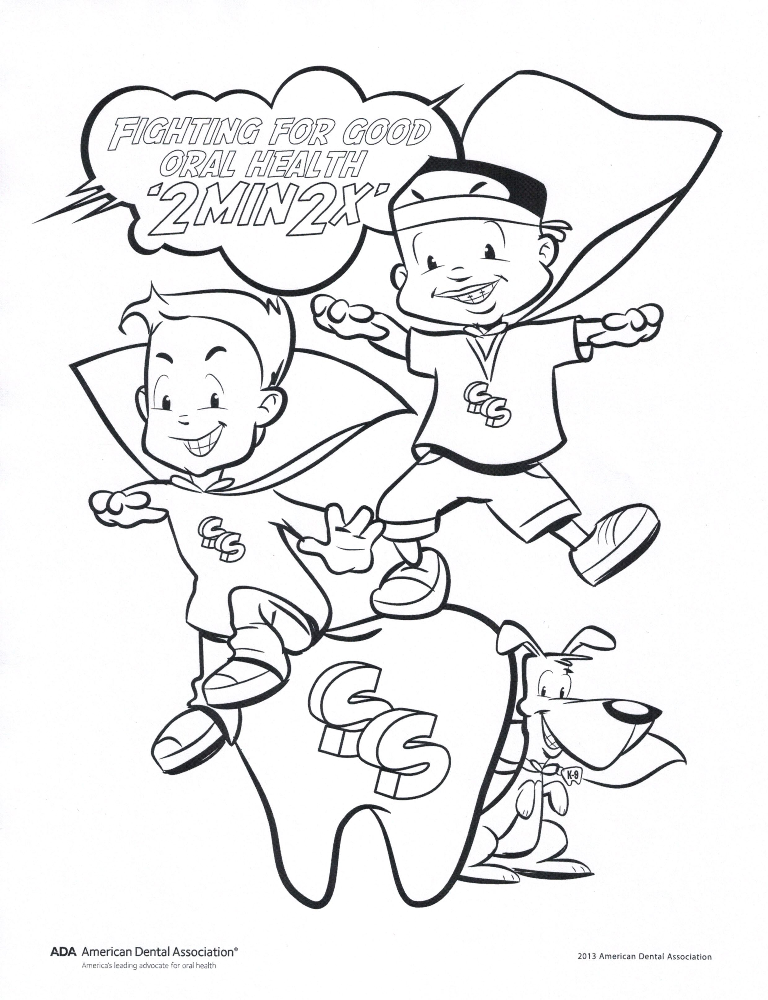Fight For Good Oral Health Coloring Page Childrens Dental