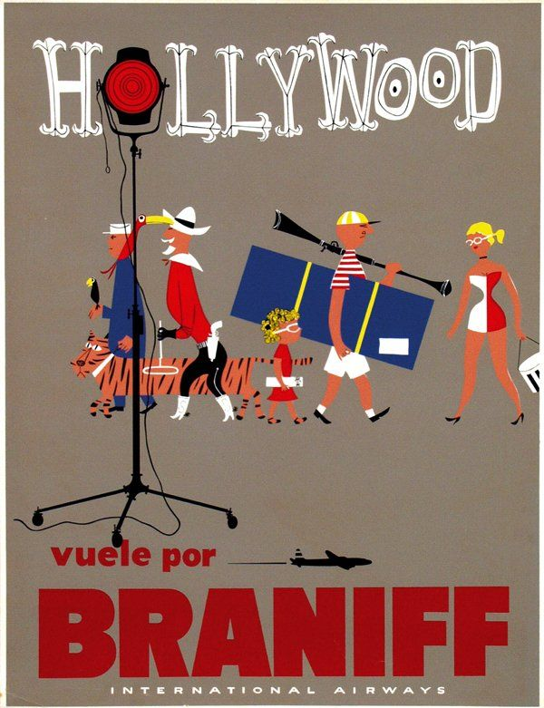 Braniff International Airways Hollywood,California vintage travel poster, 1955