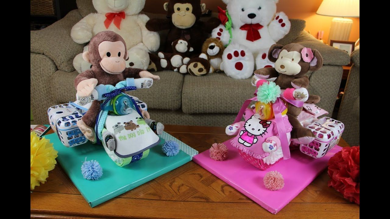 Diaper cake motocycle with cargo bags youtube tricycle