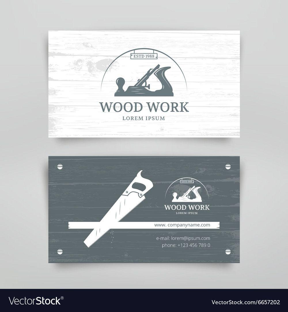 Woodwork Vintage Card Royalty Free Vector Image Ad Card Vintage Woodwork Business Card Template Design Woodworking Tools Workshop Business Card Design