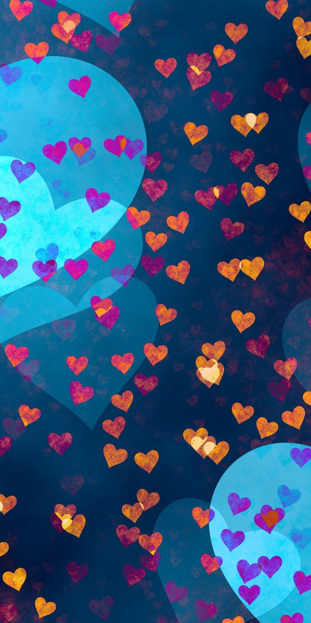 Love Hearts Pattern Golden And Pink 1080x2160 Wallpaper Turquoise Art Art Wallpaper Wallpaper