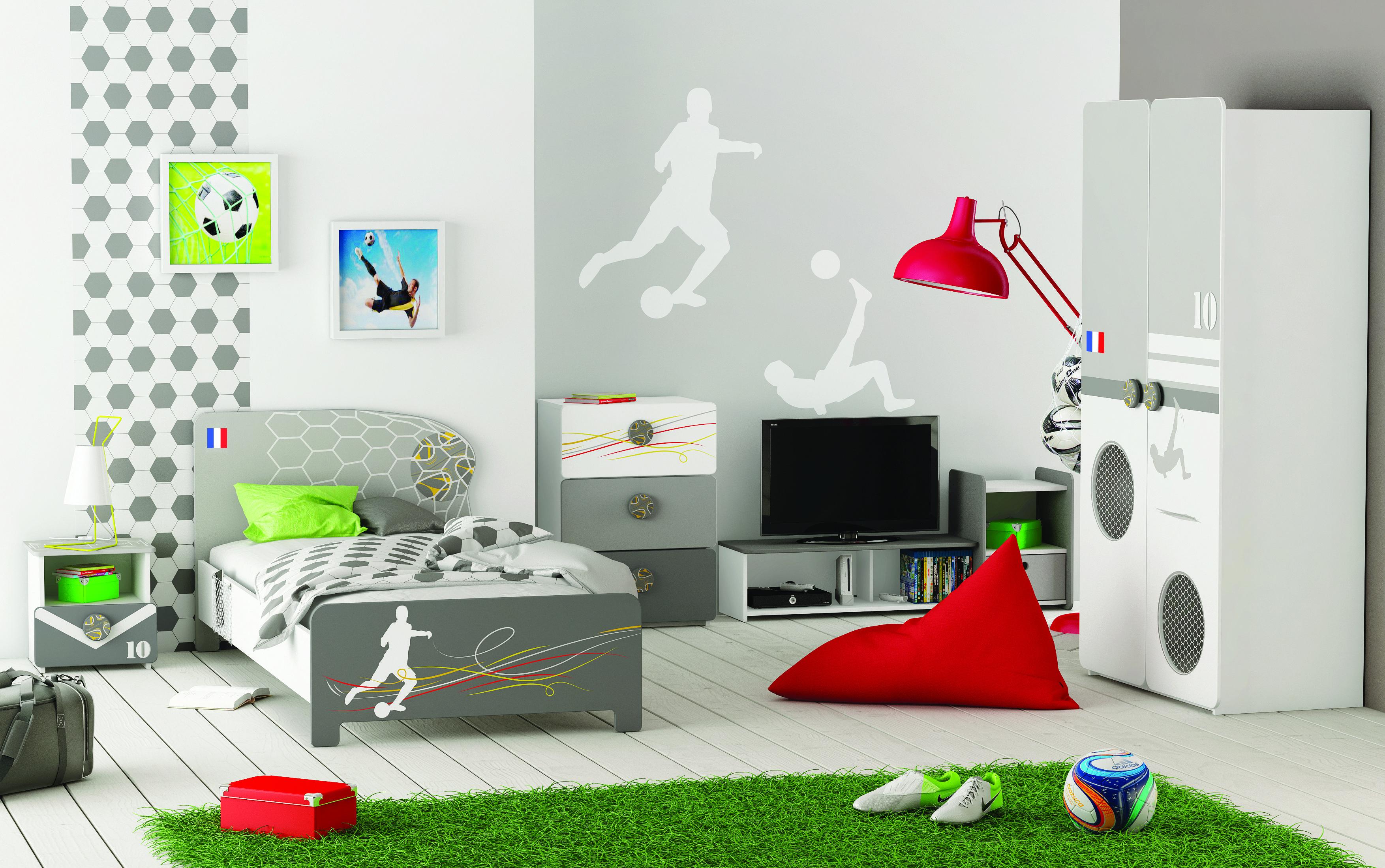 Chambre FOOTY, ambiance foot, gris noir et vert - BUT  Décoration