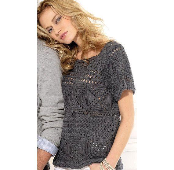 Crochet tunic, elegant crochet tunic, crochet top pattern, crochet tunic PDF PATTERN, crochet top for work, written description in ENGLISH. by maria9735