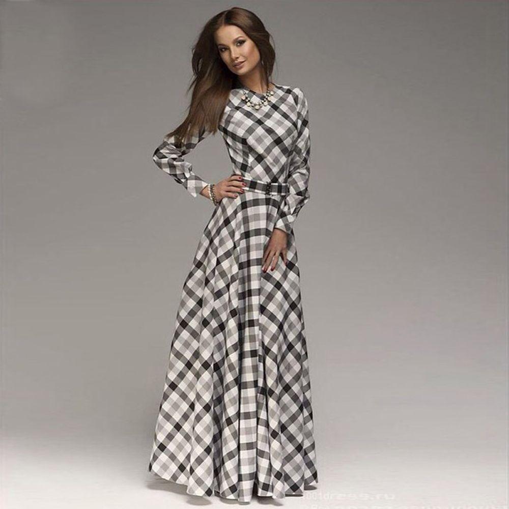 1f10ebe304cb2 new women plaid printing long dress Russian style women patchwork ...