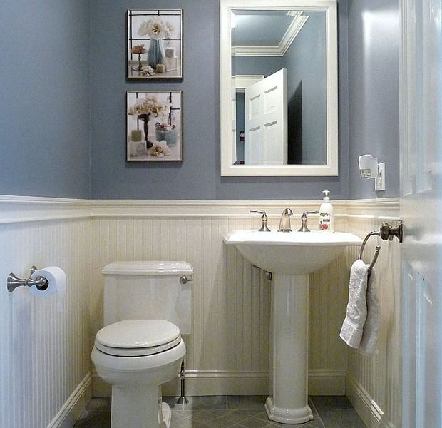 Bathroom design how to make narrow half bathroom seem - Small half bathroom layout ...