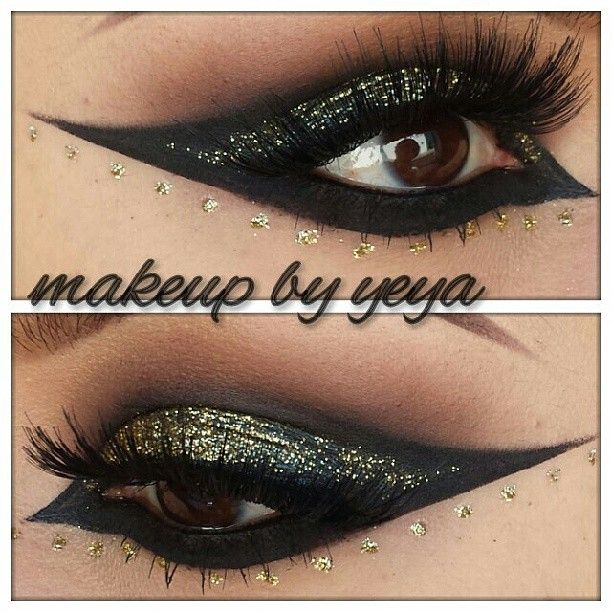 Black and gold glitter look