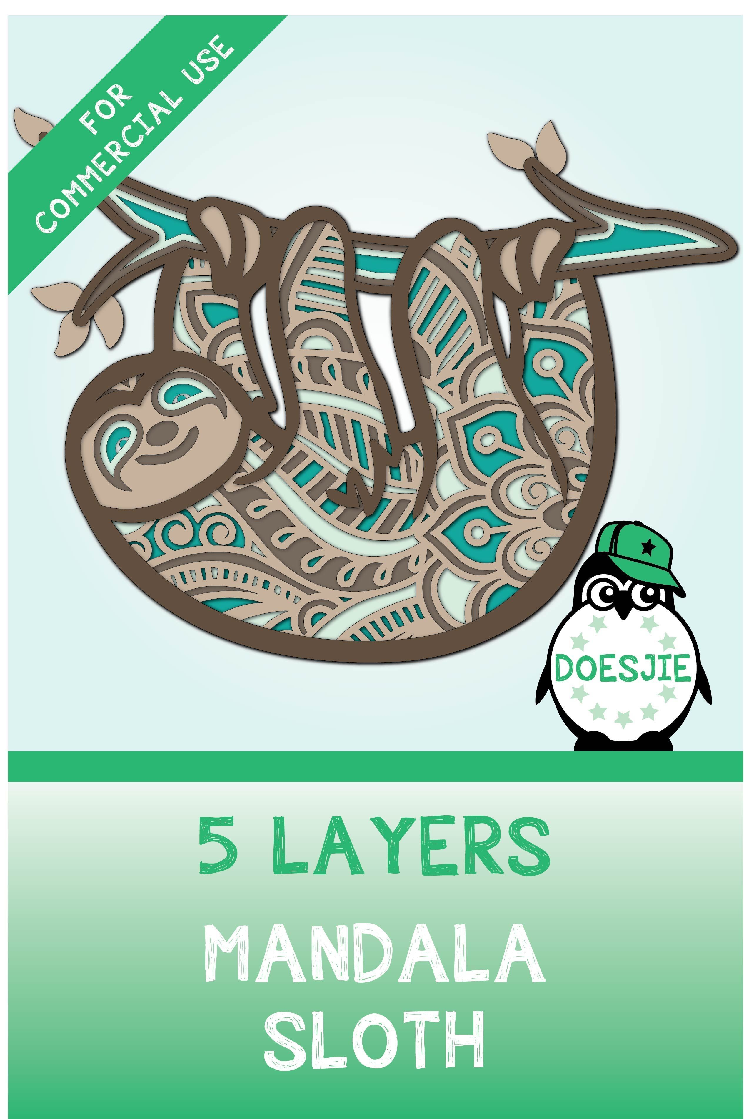 Beautiful 3D layered lazy sloth design made out of 5
