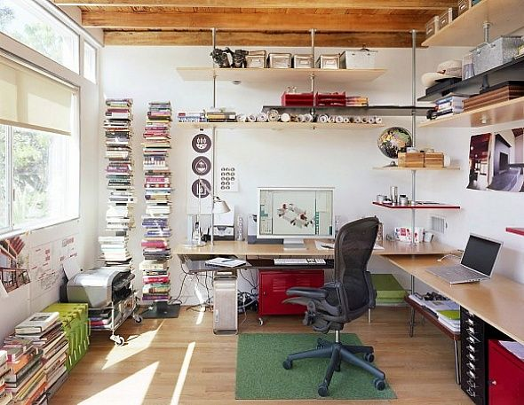Love This Creative Work Space By Jeremy Levine Design! Great Idea For  Shelving And A Green Patch For Chair By Flor.