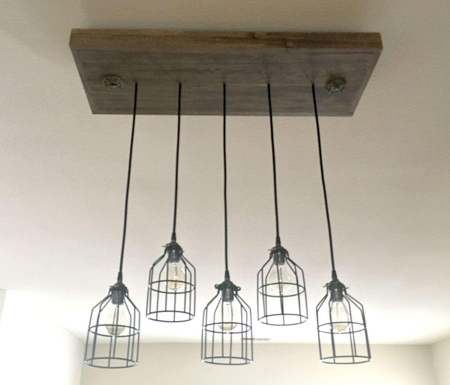 Vintage Industrial Pendant Lamp with wire guard, Wood Light Fixture ...