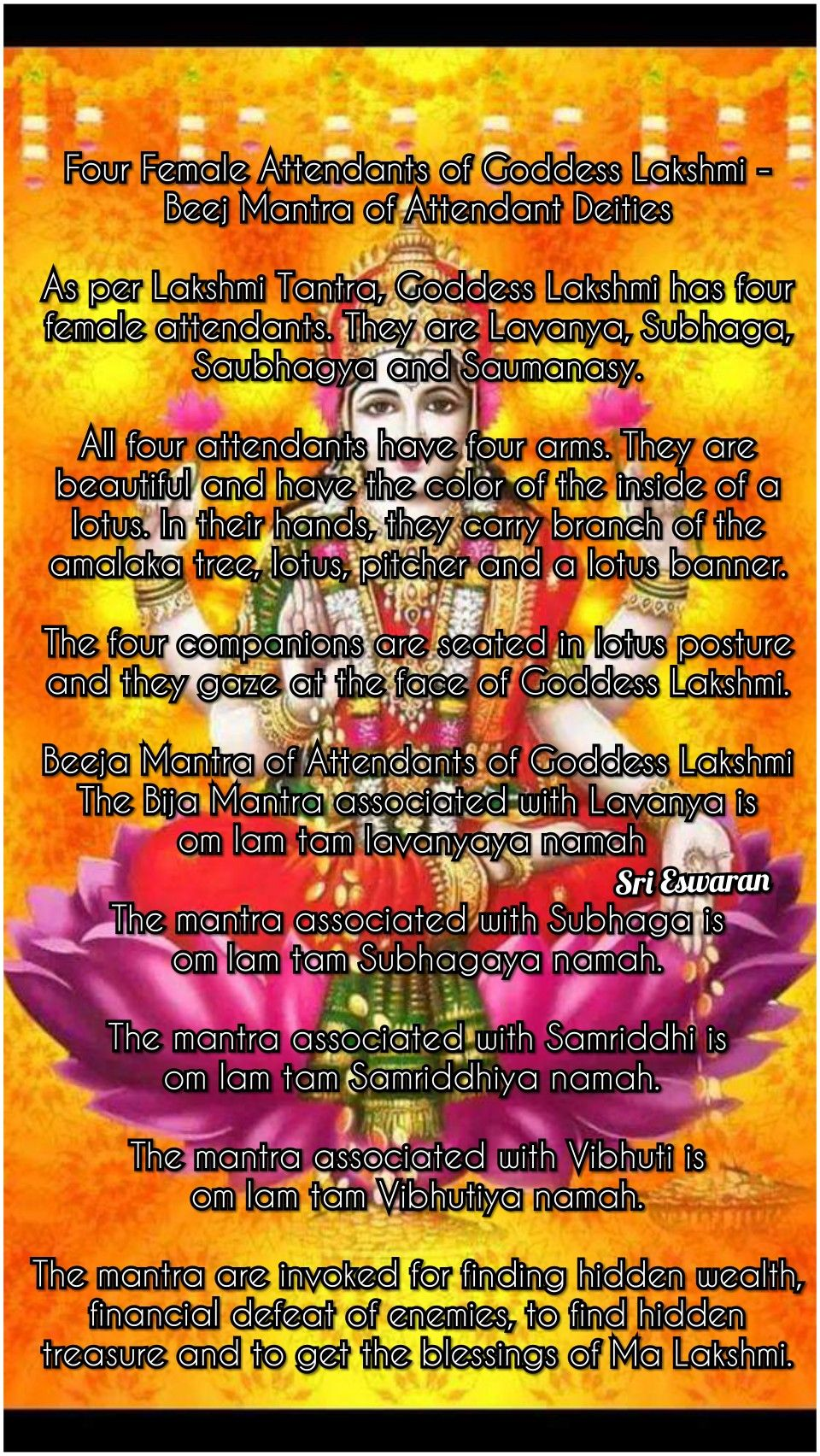 Four Female Attendants of Goddess Lakshmi - Beej Mantra of