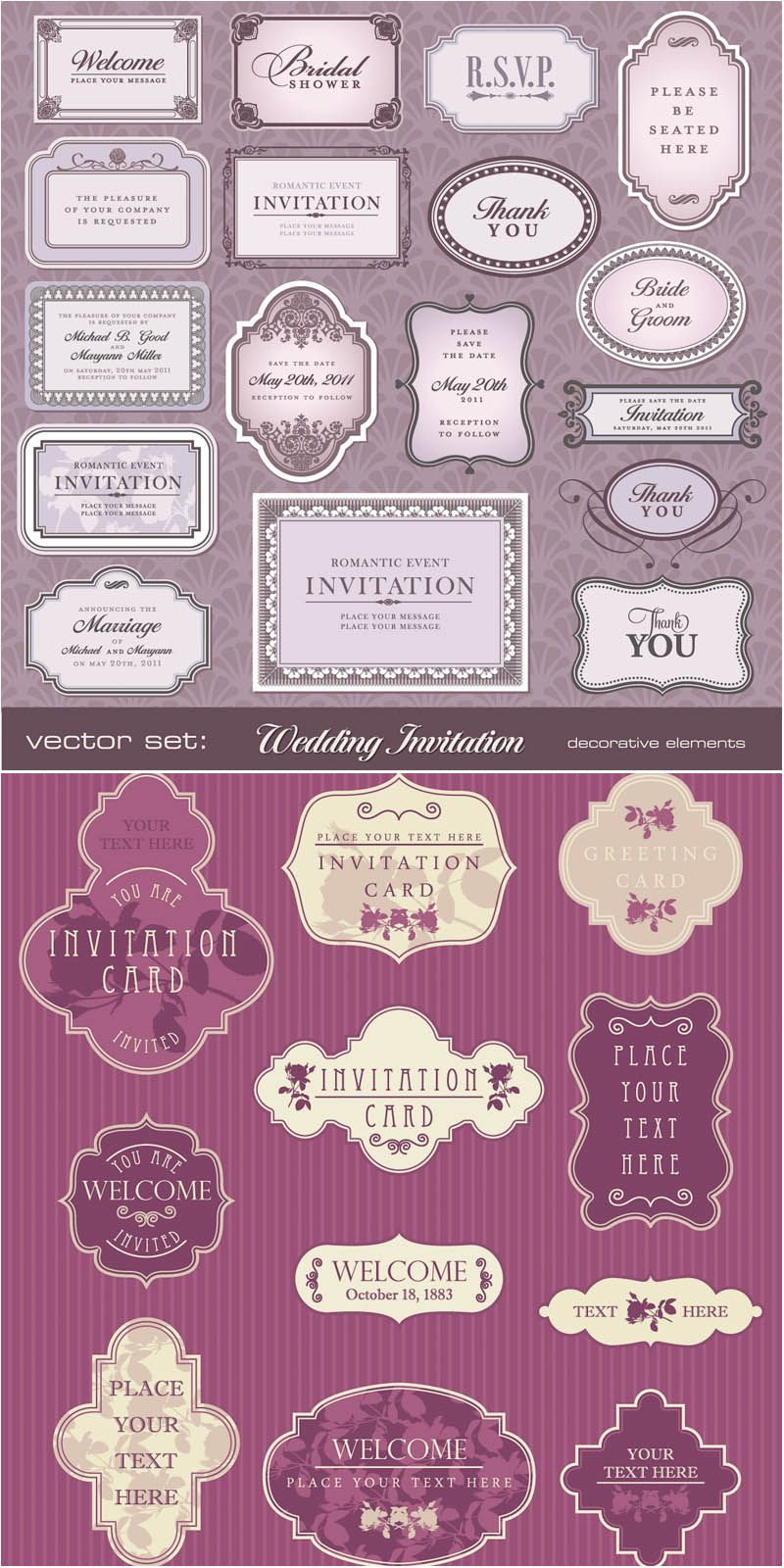 Retro decorative invitation card designs vector vector design art 28 design elements of vector retro decorative wedding invitation card designs with vintage embellishments frames and labels for your text decorated with junglespirit Choice Image